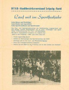 Informationsblatt 1983: DTSB-Stadtbezirksvorstand Leipzig-Nord – Aufruf zum Auenseelauf und zum Auensee-Marathon- Archiv: Rudi Ulbrich