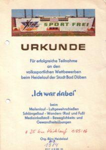 Urkunden der volkssportlichen Wettbewerben 1984 – Archiv: Christian Brendecke