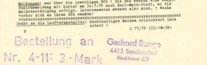 """""""STRASSENLAUF"""" Ausgabe 04/1979 – Fußteil mit Bestellstempel und Adresse - Archiv: Prof. Frank Gottert"""