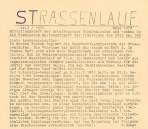 """""""STRASSENLAUF"""" – legendäres Mitteilungsheft, im Volksmund """"Bunge-Blatt"""" – März 1975- Archiv: Prof. Frank Gottert"""
