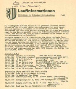 01/1980 - Deckblatt der ersten Ausgabe der Laufinformationen des Leipziger Meilenkomitees - Archiv: Prof. Frank Gottert