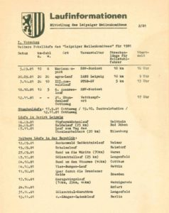 02/1981 – Deckblatt der Laufinformationen des Leipziger Meilenkomitees – Archiv: Manfred Busse
