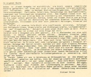 """Aus dem ersten Heft vom 01. November 1986 – Dietmar Knies –"""" In eigener Sache"""" Archiv: Prof. Frank Gottert"""