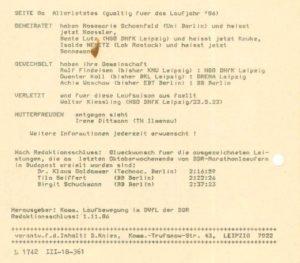 Aus dem ersten Heft vom 01. November 1986 – Vereinswechsel, Verletzungen, Niederkünfte etc. – Archiv: Prof. Frank Gottert