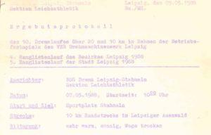 Ergebnisprotokoll 1988 des 10. DREMA-Laufs – Archiv: Christian Brendecke