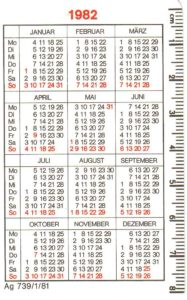 """""""Save the date"""" – Taschenkalender des Leipziger Meilenkomitees von 1982 – Archiv. Prof. Frank Gottert"""