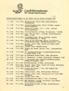 """Aus """"Laufinformationen des Leipziger Meilenkomitees"""" 1/1985, Seite 1, Archiv: Manfred Busse"""