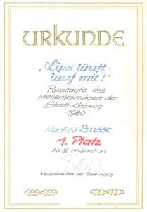 1980 – Urkunde 1. Platz der AK III männlich, der ersten Leipziger Pokallaufserie – Archiv: Manfred Busse
